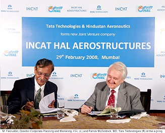 M. Fakruddin, Director-Corporate Planning and Marketing, HAL and Patrick McGoldrick, MD, Tata Technologies at the signing