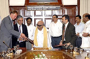 The Memorandum of Understanding (MoU) was signed today in Chennai in the presence of M. Karunanidhi