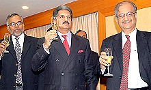 M&M Farm Equipment Sector, Chief Operating Officer, Mr. Gautam Nagwekar, M&M Group Vice Chairman & Managing Director, Mr. Anand Mahindra and M&M Group Chief Financial Officer, Mr. Bharat Doshi in Mumbai
