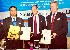 PICTURE TAKEN ON THE OCCASION OF LAUNCHING OF JOINT VENTURE -ELGI SAUER COMPRESSORS LIMITED.  From Left to Right: Dr. Jairam Varadaraj, Managing Director, Elgi Equipments Limited, Mr. Harald Schulz Managing Director, JP Sauer & Sohn-Germany, Dr. Edger Schmitt, Managing Director. JP Sauer & Sohn-Germany