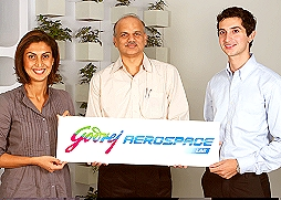 Tanya Dubash, Executive Director and President (Marketing), Godrej; Navroze Godrej, Manager, Projects, Godrej & Boyce; and S. M. Vaidya, Vice President and Business Head, Precision Components & Systems Division unveil the new identity for Godrej's Aerospace capabilities'.