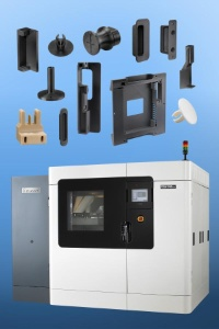 32 of the machine's components were produced via direct digital manufacturing. Shown here are 12 of the 14 unique designs.